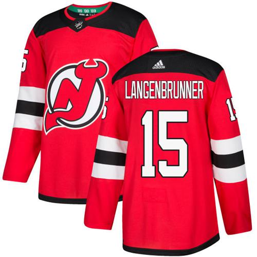 Adidas Men New Jersey Devils 15 Jamie Langenbrunner Red Home Authentic Stitched NHL Jersey