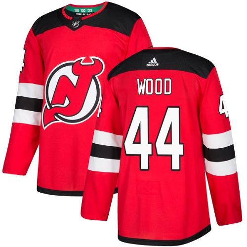 Adidas Men New Jersey Devils 44 Miles Wood Red Home Authentic Stitched NHL Jersey