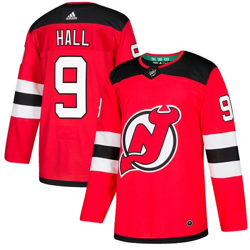 Adidas Men New Jersey Devils 9 Taylor Hall Red Home Authentic Stitched NHL Jersey