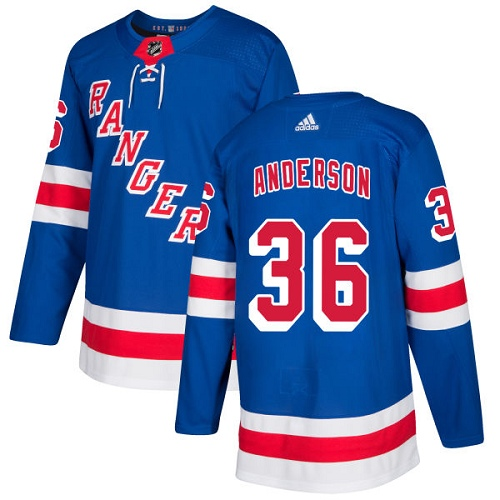 Adidas Men New York Rangers 36 Glenn Anderson Royal Blue Home Authentic Stitched NHL Jersey