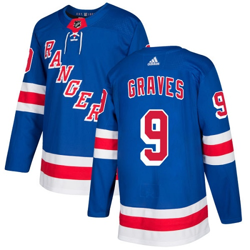 Adidas Men New York Rangers 9 Adam Graves Royal Blue Home Authentic Stitched NHL Jersey