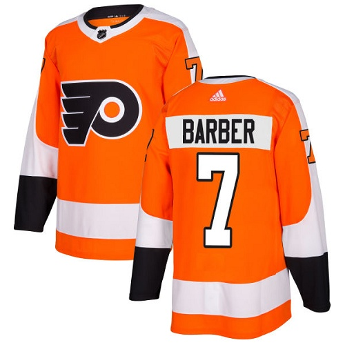 Adidas Men Philadelphia Flyers 7 Bill Barber Orange Home Authentic Stitched NHL Jersey