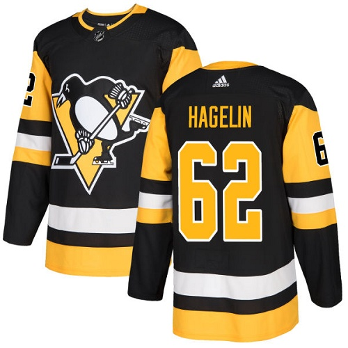 Adidas Men Pittsburgh Penguins 62 Carl Hagelin Black Home Authentic Stitched NHL Jersey