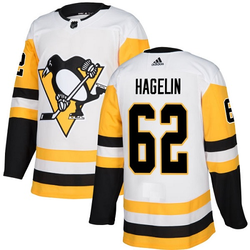 Adidas Men Pittsburgh Penguins 62 Carl Hagelin White Road Authentic Stitched NHL Jersey