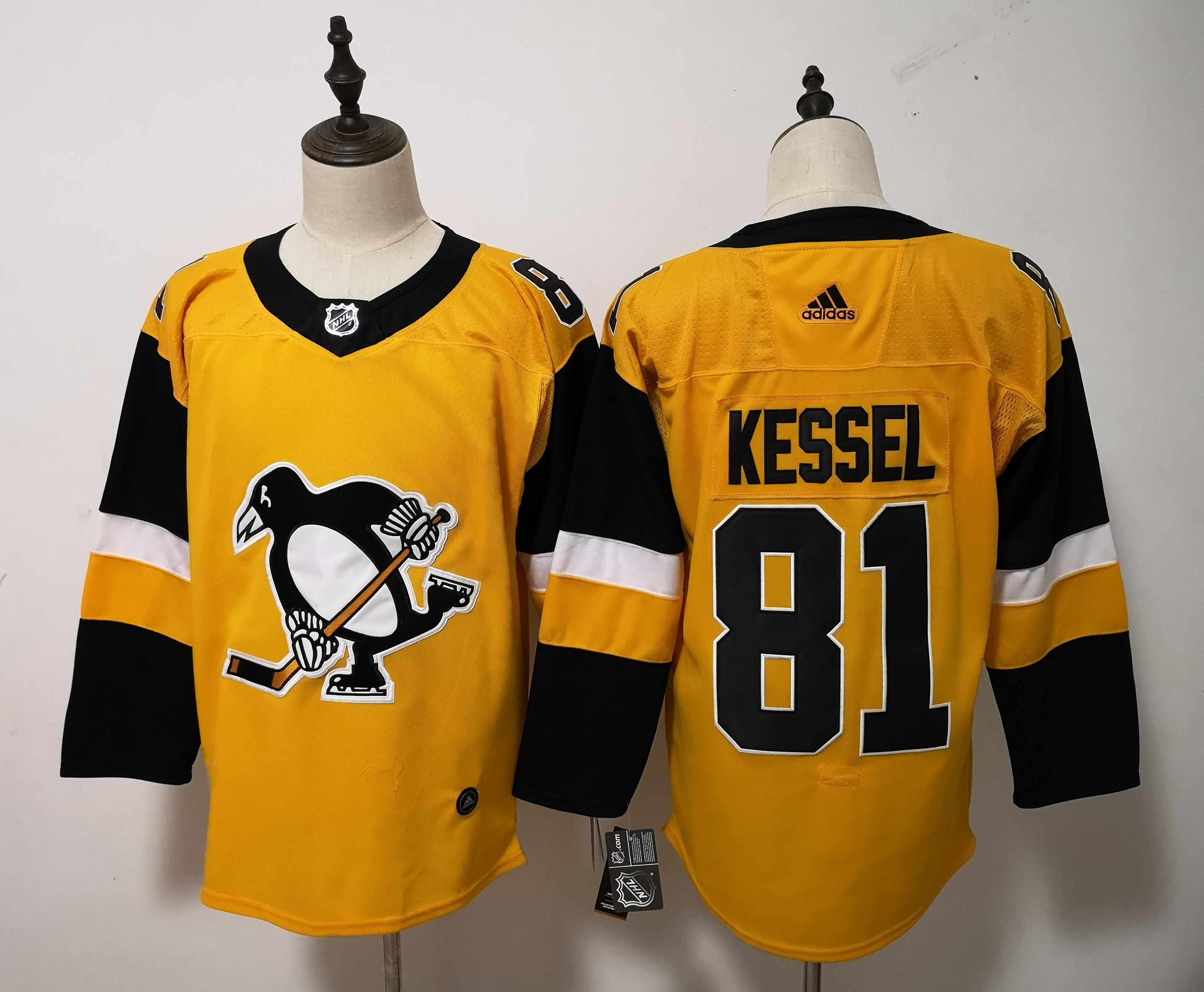 Adidas Men Pittsburgh Penguins 81 Phil Kessel Yellow Alternate Stitched NHL Jersey