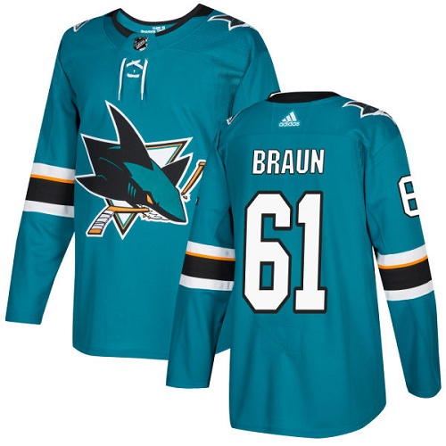 Adidas Men San Jose Sharks 61 Justin Braun Teal Home Authentic Stitched NHL Jersey