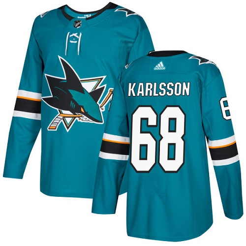Adidas Men San Jose Sharks 68 Melker Karlsson Teal Home Authentic Stitched NHL Jersey