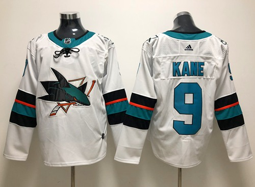 Adidas Men San Jose Sharks 9 Evander Kane White Road Authentic Stitched NHL Jersey