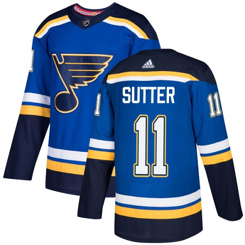 Adidas Men St.Louis Blues 11 Brian Sutter Blue Home Authentic Stitched NHL Jersey