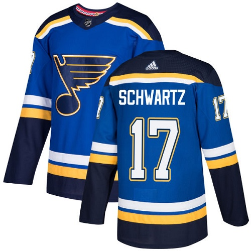 Adidas Men St.Louis Blues 17 Jaden Schwartz Blue Home Authentic Stitched NHL Jersey