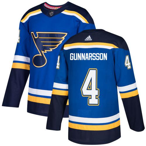 Adidas Men St.Louis Blues 4 Carl Gunnarsson Blue Home Authentic Stitched NHL Jersey