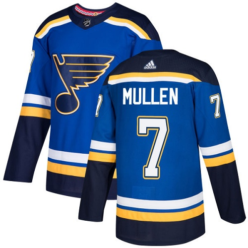 Adidas Men St.Louis Blues 7 Joe Mullen Blue Home Authentic Stitched NHL Jersey