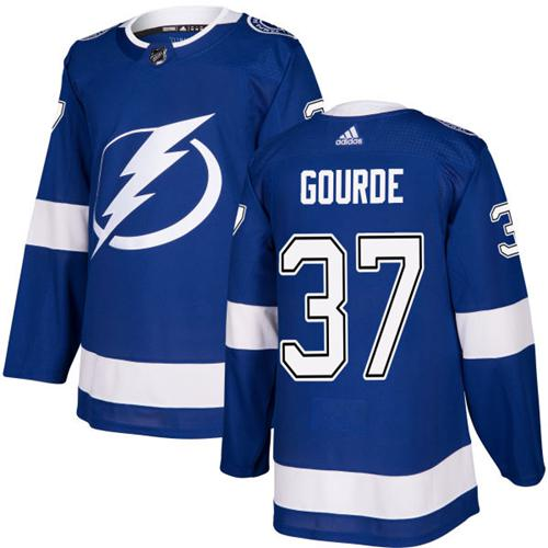 Adidas Men Tampa Bay Lightning 37 Yanni Gourde Blue Home Authentic Stitched NHL Jersey