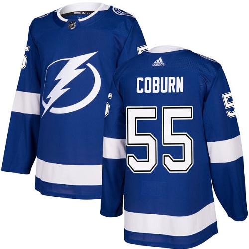 Adidas Men Tampa Bay Lightning 55 Braydon Coburn Blue Home Authentic Stitched NHL Jersey