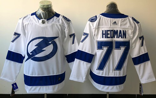 Adidas Men Tampa Bay Lightning 77 Victor Hedman White Road Authentic Stitched NHL Jersey