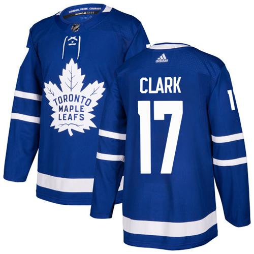 Adidas Men Toronto Maple Leafs 17 Wendel Clark Blue Home Authentic Stitched NHL Jersey