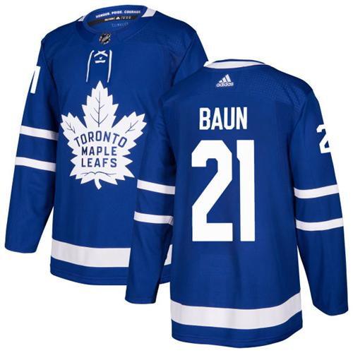Adidas Men Toronto Maple Leafs 21 Bobby Baun Blue Home Authentic Stitched NHL Jersey