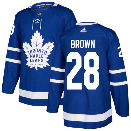 Adidas Men Toronto Maple Leafs 28 Connor Brown Blue Home Authentic Stitched NHL Jersey
