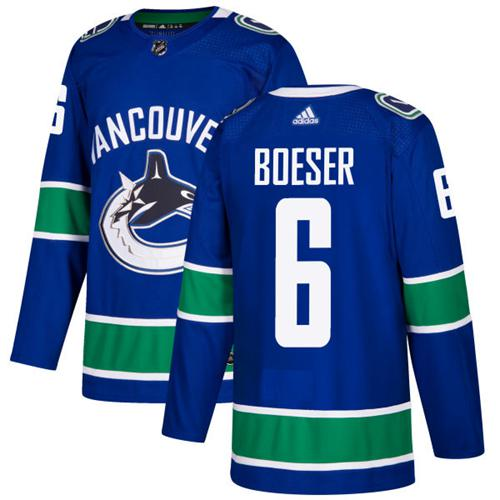 Adidas Men Vancouver Canucks 6 Brock Boeser Blue Home Authentic Stitched NHL Jersey