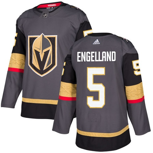 Adidas Men Vegas Golden Knights 5 Deryk Engelland Grey Home Authentic Stitched NHL Jersey