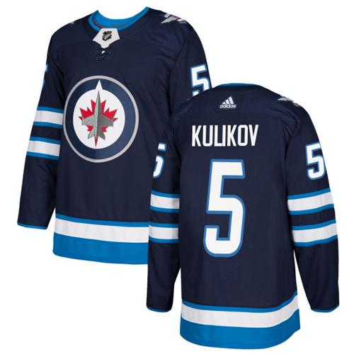 Adidas Men Winnipeg Jets 5 Dmitry Kulikov Navy Blue Home Authentic Stitched NHL Jersey