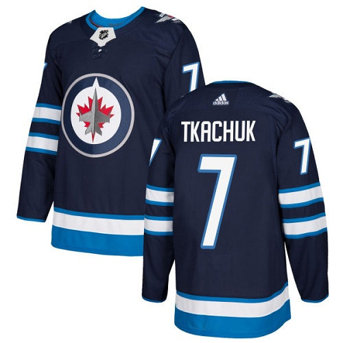 Adidas Men Winnipeg Jets 7 Keith Tkachuk Navy Blue Home Authentic Stitched NHL Jersey