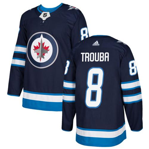 Adidas Men Winnipeg Jets 8 Jacob Trouba Navy Blue Home Authentic Stitched NHL Jersey