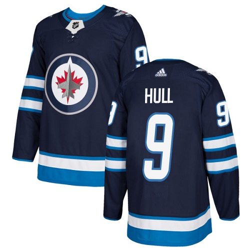 Adidas Men Winnipeg Jets 9 Bobby Hull Navy Blue Home Authentic Stitched NHL Jersey
