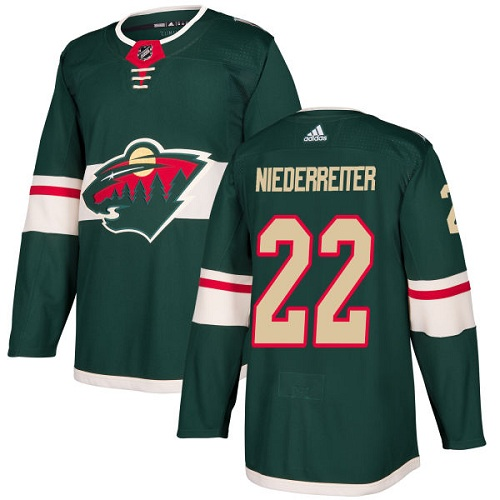 Adidas Minnesota Wild 22 Nino Niederreiter Green Home Authentic Stitched Youth NHL Jersey