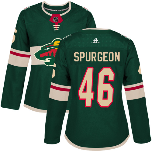 Adidas Minnesota Wild 46 Jared Spurgeon Green Home Authentic Women Stitched NHL Jersey