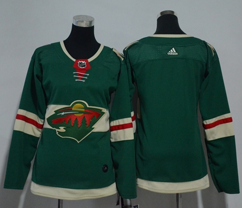 Adidas Minnesota Wild Blank Green Home Authentic Women Stitched NHL Jersey