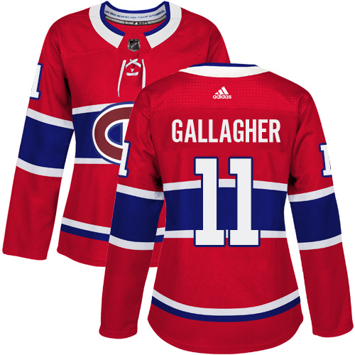 Adidas Montreal Canadiens 11 Brendan Gallagher Red Home Authentic Women Stitched NHL Jersey