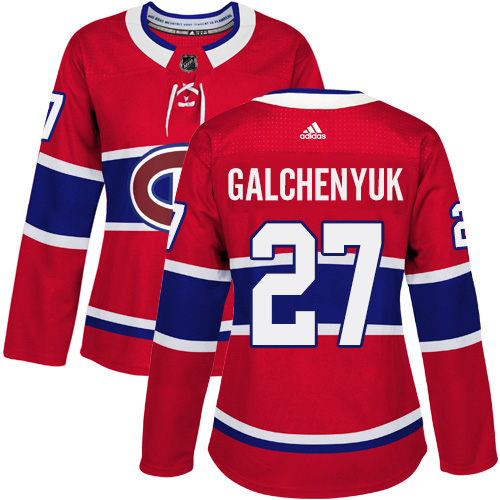 Adidas Montreal Canadiens 27 Alex Galchenyuk Red Home Authentic Women Stitched NHL Jersey