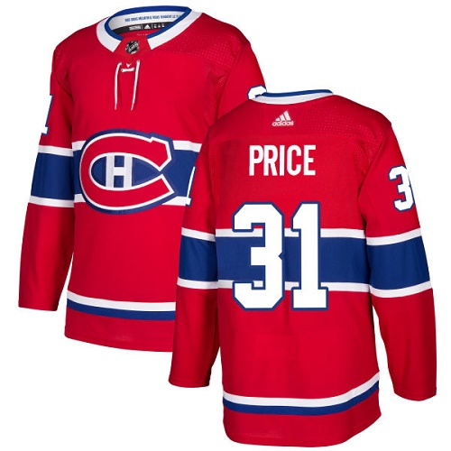Adidas Montreal Canadiens 31 Carey Price Red Home Authentic Stitched Youth NHL Jersey