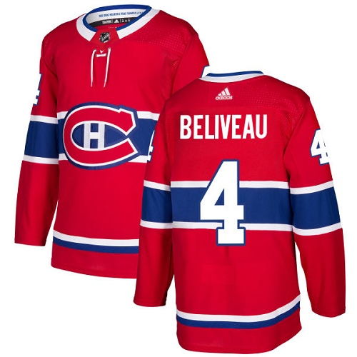Adidas Montreal Canadiens 4 Jean Beliveau Red Home Authentic Stitched Youth NHL Jersey