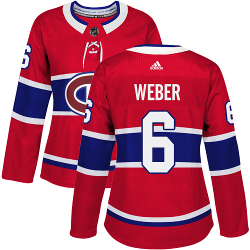 Adidas Montreal Canadiens 6 Shea Weber Red Home Authentic Women Stitched NHL Jersey