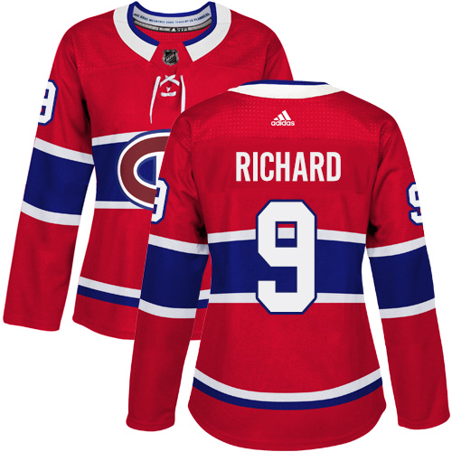 Adidas Montreal Canadiens 9 Maurice Richard Red Home Authentic Women Stitched NHL Jersey
