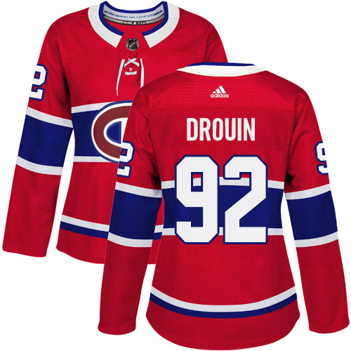 Adidas Montreal Canadiens 92 Jonathan Drouin Red Home Authentic Women Stitched NHL Jersey