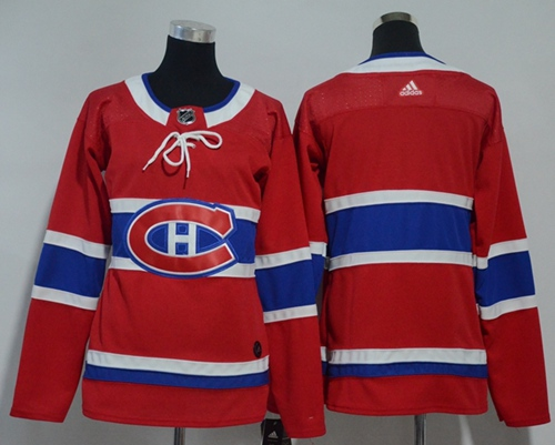 Adidas Montreal Canadiens Blank Red Home Authentic Women Stitched NHL Jersey