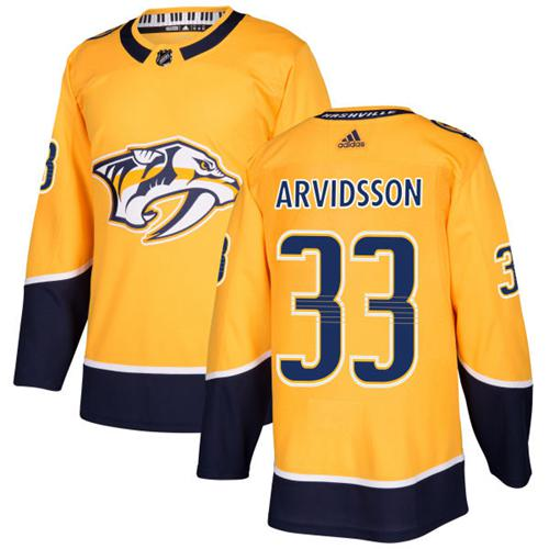 Adidas Nashville Predators 33 Viktor Arvidsson Yellow Home Authentic Stitched Youth NHL Jersey