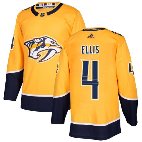 Adidas Nashville Predators 4 Ryan Ellis Yellow Home Authentic Stitched Youth NHL Jersey
