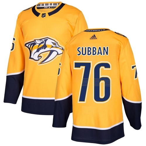 Adidas Nashville Predators 76 P.K Subban Yellow Home Authentic Stitched Youth NHL Jersey