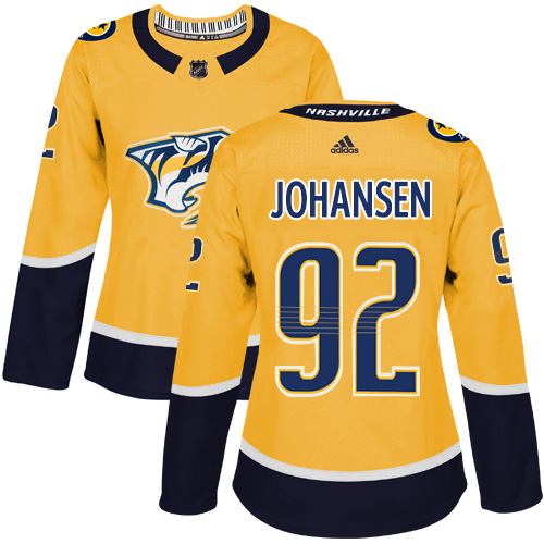 Adidas Nashville Predators 92 Ryan Johansen Yellow Home Authentic Women Stitched NHL Jersey
