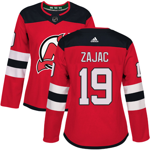 Adidas New Jersey Devils 19 Travis Zajac Red Home Authentic Women Stitched NHL Jersey
