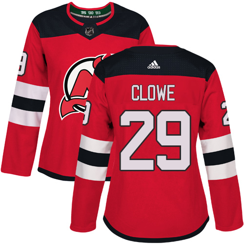 Adidas New Jersey Devils 29 Ryane Clowe Red Home Authentic Women Stitched NHL Jersey