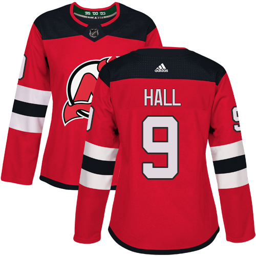 Adidas New Jersey Devils 9 Taylor Hall Red Home Authentic Women Stitched NHL Jersey