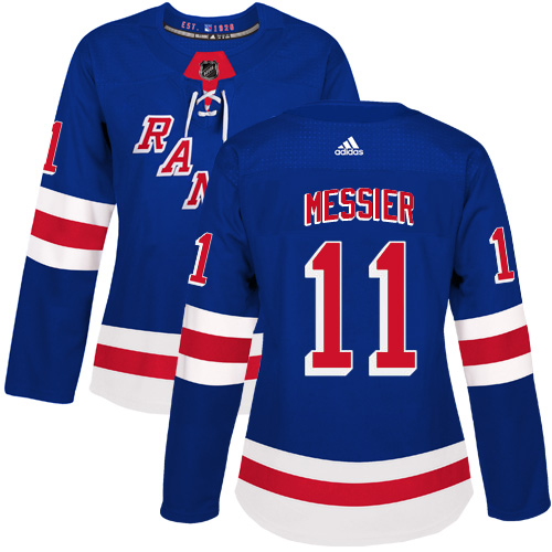 Adidas New York Rangers 11 Mark Messier Royal Blue Home Authentic Women Stitched NHL Jersey
