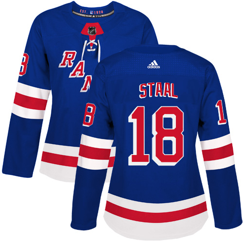 Adidas New York Rangers 18 Marc Staal Royal Blue Home Authentic Women Stitched NHL Jersey