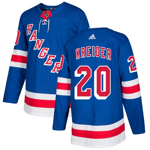 Adidas New York Rangers 20 Chris Kreider Royal Blue Home Authentic Stitched Youth NHL Jersey