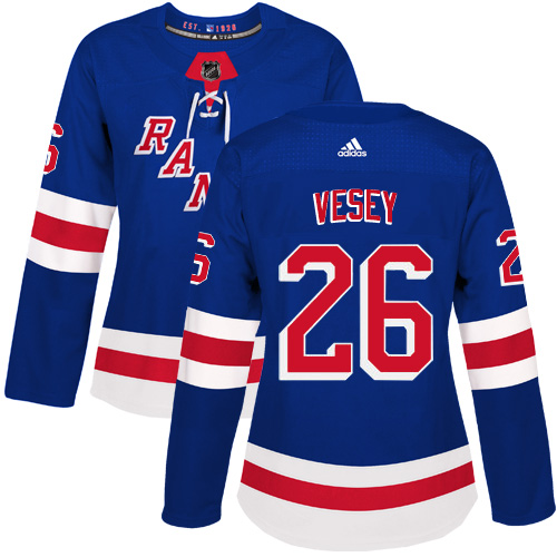 Adidas New York Rangers 26 Jimmy Vesey Royal Blue Home Authentic Women Stitched NHL Jersey